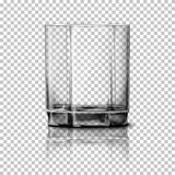 Transparent realistic Vector glass isolated on plaid background with reflection, for design, branding. Royalty Free Stock Photos