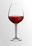 Transparent realistic vector wineglass full of red wine rich dark ruby burgundy color. Illustration in photorealistic. Transparent realistic wineglass full of royalty free illustration