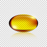 Transparent Realistic yellow gelatin capsule. On simple background, vector Royalty Free Stock Image