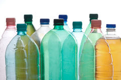 Plastic bottles in different color Stock Photos