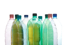 Plastic bottles in different color Royalty Free Stock Photos