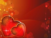 Transparent red background with bright hearts Stock Image