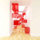 Transparent red cubes in the corridor Stock Photo
