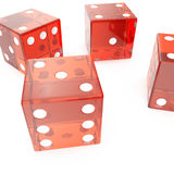 Transparent red cubes on a white background, concept of gambling for example: casino, roulette, 3d rendering. Transparent red cubes on a white background Stock Image