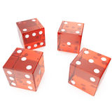 Transparent red cubes on a white background, concept of gambling for example: casino, roulette, 3d rendering. Transparent red cubes on a white background Stock Images