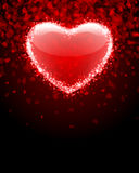 Transparent red heart. Valentine's day background Stock Photos