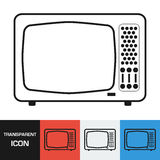 Transparent retro television icon. Vector icon on different types backgrounds Royalty Free Stock Photos