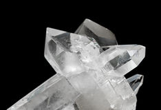 Transparent rock crystals on black Royalty Free Stock Image