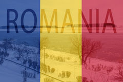 Transparent Romania flag and text on Danube river wallpaper Royalty Free Stock Photo