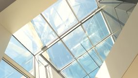 Transparent roof and sky. stock footage