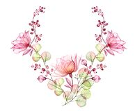 Transparent rose wreath. Watercolor floral illustration. Isolated hand drawn arrangement with pink flowers and berries