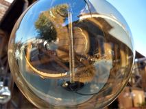 Transparent round bulb of the street lamp royalty free stock image
