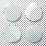Transparent Round Circle Set Vector Realistic Illustration. Flat Glass Circle. Glass Plate. royalty free illustration