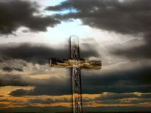 Transparent Rugged Cross. A transparent rugged cross in a scenic setting of clouds, sunrays, and mountains (Easter/Christian image vector illustration