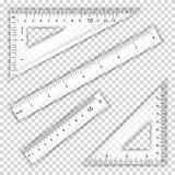 Transparent Ruler And Triangles Vector. Centimeter And Inch. Measure Tool Equipment Illustration. Several Instruments Stock Photos