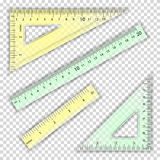 Transparent Ruler And Triangles Vector. Centimeter And Inch. Measure Tool Equipment Illustration. Several Instruments Royalty Free Stock Image