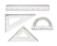Transparent rulers isolated on white background Royalty Free Stock Image