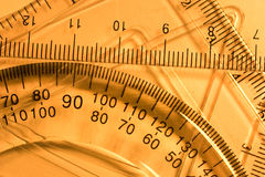 Transparent rulers and protractors Stock Photography