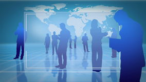 Transparent screens with silhouettes of business people stock video