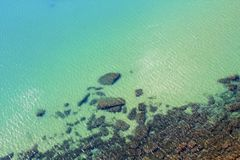 Transparent sea with stones. Under water Royalty Free Stock Photos