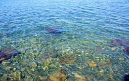 Transparent sea water. Clean, clear sea water through which rayed komenistoe bottom Stock Photography