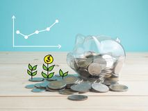 Transparent see through piggy bank filled with coins on wood background.Saving investment color concept. Royalty Free Stock Photo