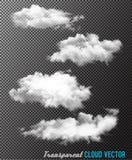 Transparent set of cloud vectors. Illustration Stock Image