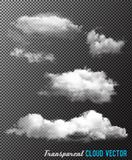 Transparent set of cloud vectors. Illustration Royalty Free Stock Images