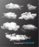 Transparent set of cloud vectors. Illustration Stock Images