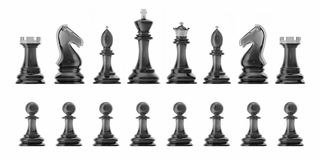 Transparent set of icons chess, isolated on white background, intelligent game, 3d rendering Stock Photo