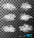 Transparent set of smoke vectors. Illustration Royalty Free Stock Photography