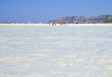 Transparent shallow water of Balos Lagoon Stock Photo