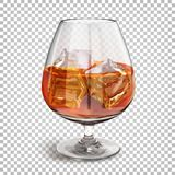 Transparent Shiny Glass On A Leg With Cognac With Ice Cubes. Royalty Free Stock Photos