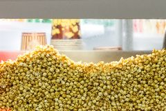 Transparent showcase filled with popcorn. Background. royalty free stock photography