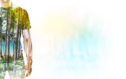A transparent silhouette of a man in the t-shirt. Royalty Free Stock Photography
