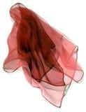 Transparent silk foulard. Red transparent silk foulard on white Stock Images