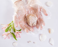 Transparent single use gloves. White protective transparent single use gloves. Top view Royalty Free Stock Photography
