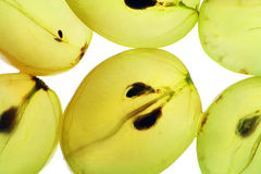 Transparent slices of ripe grapes Stock Photos