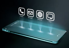 Transparent smartphone with apps on three dimensional screen. A 3D phone is a mobile phone that conveys depth perception to the viewer by employing stereoscopy Royalty Free Stock Images