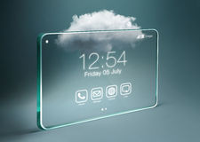 Transparent smartphone with cloud computing technology. Cloud computing is a general term for the delivery of hosted services over the Internet Stock Image
