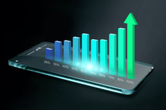 Transparent smartphone with colorful business chart on screen Royalty Free Stock Photo