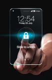 Transparent smartphone with lock icon on blue background. Slide up to unlock your phone. Easy Lock is the easiest way for locking or unlocking your phone stock photo
