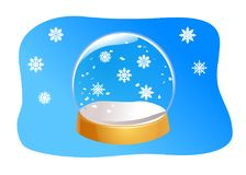 Transparent Snow Globe. Empty glass sphere with snowflakes. Crystal ball isolated on blue background. Transparent Snow Globe. Empty glass sphere with snowflakes Stock Illustration