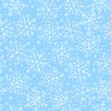 Transparent Snowflakes Seamless Pattern. Christmas light blue background Royalty Free Stock Photography