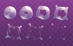 Transparent soap bubble burst sprites. Vector frames for animation. GUI assets Stock Image