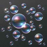 Transparent soap bubble. Realistic colorful 3D bubbles, rainbow clear shampoo ball with color reflection. Design template royalty free illustration