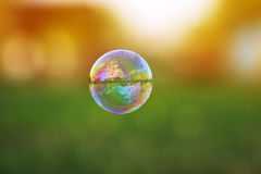transparent soap bubble with a shimmering flying over a S royalty free stock photography