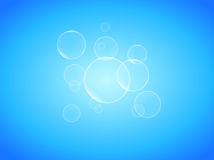 Transparent soap bubbles on blue background photo realistic vector. Illustrations Royalty Free Stock Photography