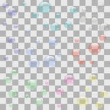Transparent Soap Bubbles. On Checkered Background stock illustration