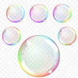 Transparent soap bubbles. Realistic illustration on checkered background. Set of multicolored transparent glass spheres. Transparency only in vector format vector illustration
